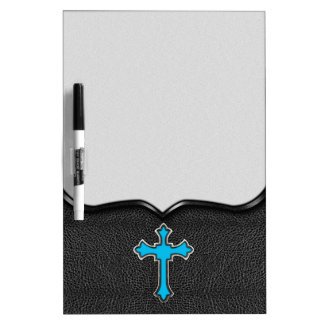 Neon Blue Cross Black Vintage Leather Image Print Dry Erase Board