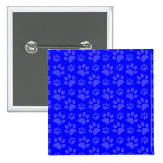 Neon blue dog paw print pattern 15 cm square badge
