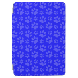 Neon blue dog paw print pattern iPad air cover