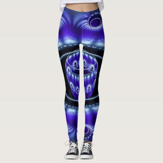 Neon Blue Fractal Design Leggings