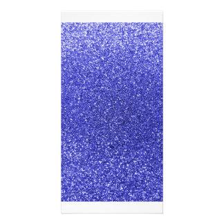 Neon blue glitter personalized photo card