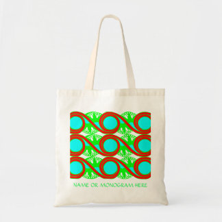 Neon blue green and reds art deco go green bag