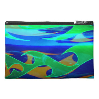 Neon Blue Green Flames Bagettes Travel Accessory Travel Accessories Bag