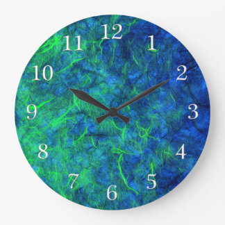 Neon blue green psychedelic Japanese rice paper Large Clock