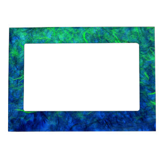 Neon blue green psychedelic Japanese rice paper Magnetic Picture Frame
