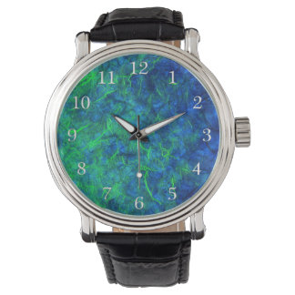 Neon blue green psychedelic Japanese rice paper Watch