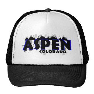Neon blue grunge Aspen Colorado Hats