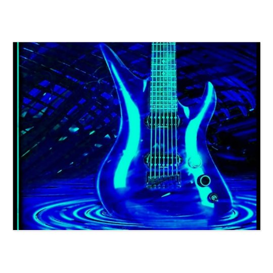 Neon blue guitar postcard