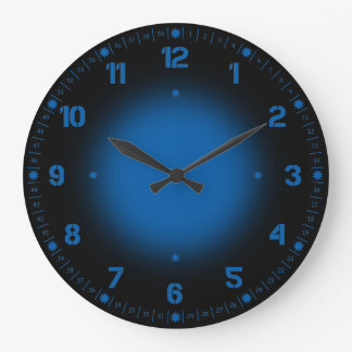 Neon Blue Large Clock