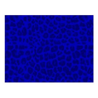 Neon blue leopard print pattern postcard
