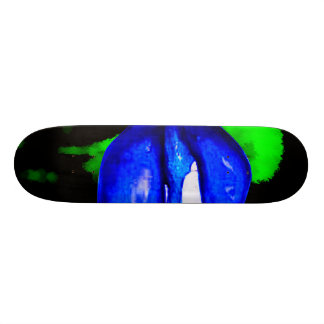 neon blue lips  & green spray paint for skateboar 21.3 cm mini skateboard deck