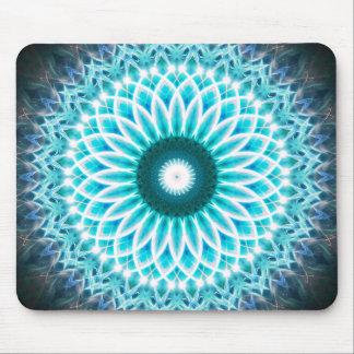 Neon Blue Lotus Mandala Mouse Mat