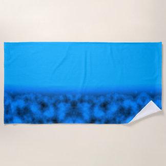 Neon Blue Night Sky With Black Beach Towel
