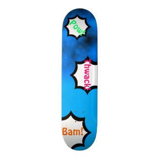 Neon Blue Night Sky With Black Comics Custom Deck Custom Skate Board