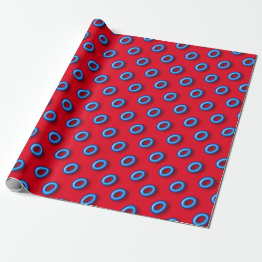 Neon Blue On Red Wrapping Paper
