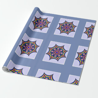 Neon Blue Pink Star Geometric Wrapping Paper
