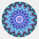 Neon Blue Starburst Classic Round Sticker