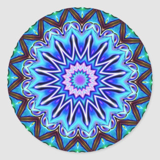 Neon Blue Starburst Round Sticker