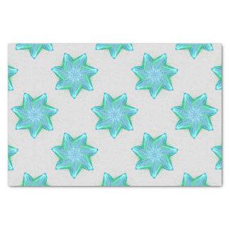 Neon blue starfish mandala tissue paper
