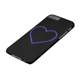 Neon Blue Valentines Heart Barely There iPhone 6 Case