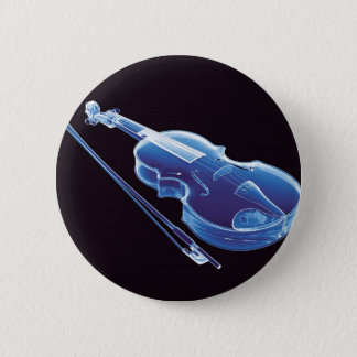 Neon Blue Violin 6 Cm Round Badge