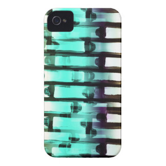Neon Blue White Abstract Line Art Brick Wall iPhon iPhone 4 Covers
