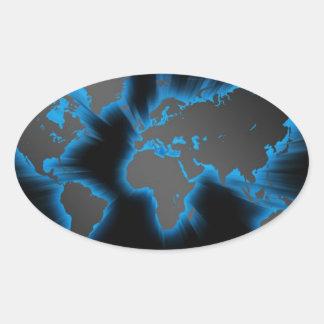 Neon Blue World Stickers
