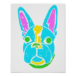 Neon Boston Terrier Poster