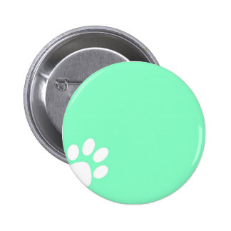 neon bright blue green teal paw print 6 cm round badge