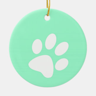 neon bright blue green teal paw print christmas ornament