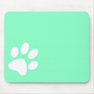 neon bright blue green teal paw print mouse pad
