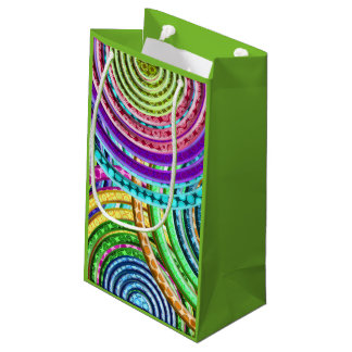 Neon Bright Cool Funky Geometric Circles Pattern Small Gift Bag