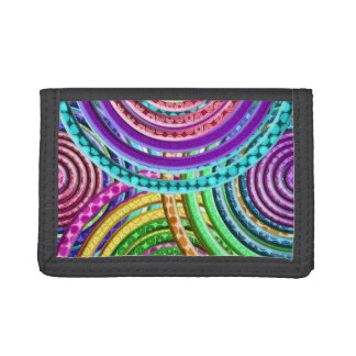 Neon Bright Cool Funky Geometric Circles Pattern Trifold Wallet