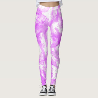 Neon Brushstroke Paint Splatter Pink Leggings