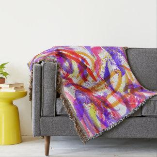 Neon Brushstroke Paint Splatter Pink Purple Orange Throw Blanket