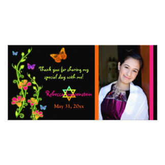 Neon Butterflies & Flowers Photo Thank You Card Photo Greeting Card
