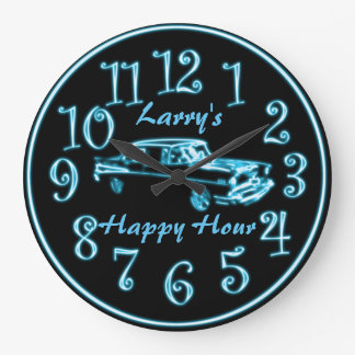 Neon Car, Custom Name Happy Hour Clock