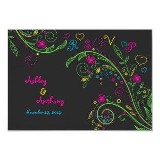 Neon Chalkboard Doodle Wedding Reply Card 9 Cm X 13 Cm Invitation Card