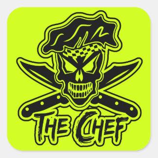 Neon Chef Skull Square Sticker