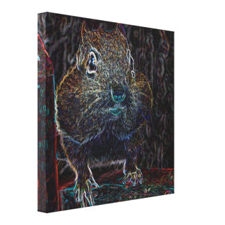 Neon Chipmunk 3 Gallery Wrapped Canvas
