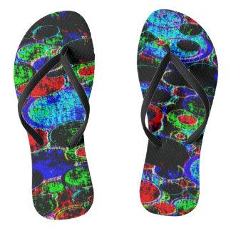neon circle abstract flip flops