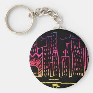 Neon Cityscape Basic Round Button Key Ring