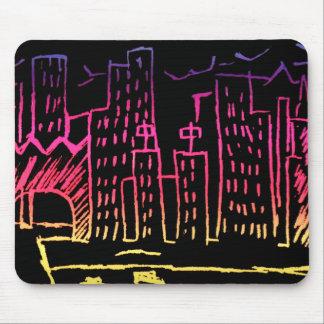 Neon Cityscape Mouse Mat