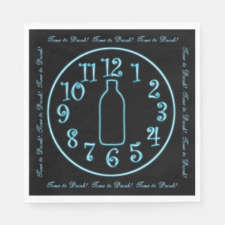 Neon Clock, Beer Bottle, Time to Drink! Napkins Disposable Napkins