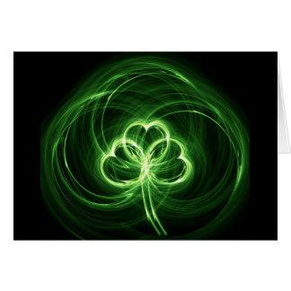Neon Clover Fractal Card