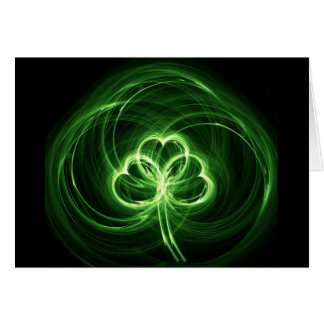 Neon Clover Fractal Greeting Card