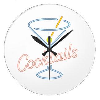 Neon Cocktails Sign Clock