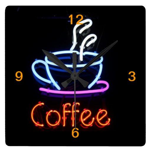 Neon Coffee Sign on Black Wall Clocks