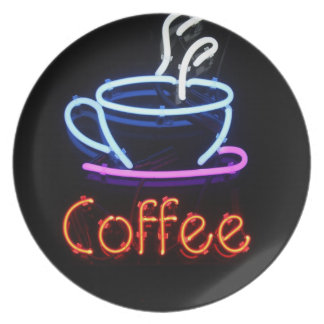 Neon Coffee Sign on Black Plate