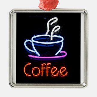 Neon Coffee Sign on Black Silver-Colored Square Decoration